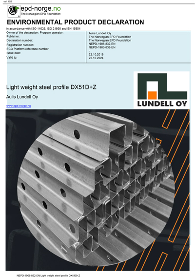 EPD Aulis Lundell Oy kevyet teräsprofiilit - Light weight steel profile